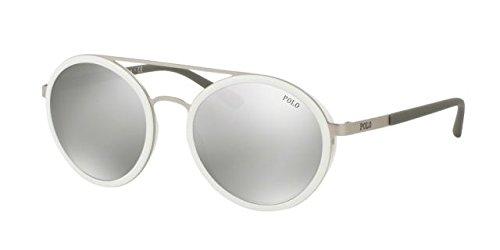 Polo Ralph Lauren Damen Sonnenbrille 0Ph3103 90106G, Silber (Matte/Grey), 53