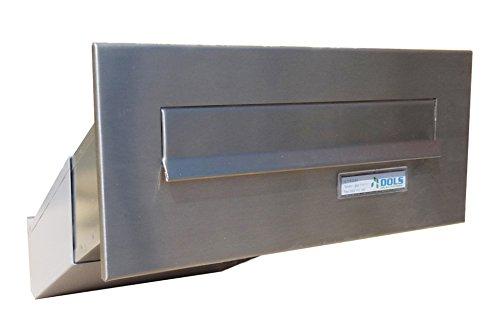 D-042 Edelstahl Mauerdurchwurf Briefkastenanlage (variable Tiefe) mit Namensschild - LETTERBOX24.de