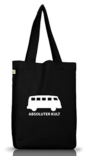 Shirtstreet24, ABSOLUTER KULT, Bus Jutebeutel Stoff Tasche Earth Positive Black