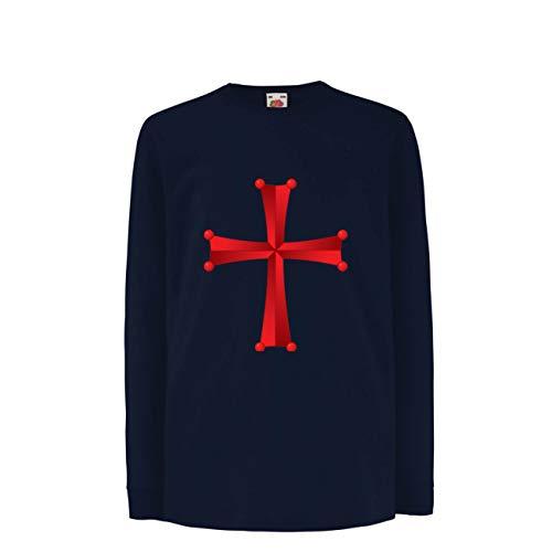Tshirt Elf Krieger Kostüm - lepni.me Kinder-T-Shirt mit Langen Ärmeln Tempel des Ordens von Salomo - Das Rote Kreuz der Tempelritter (5-6 Years Blau Mehrfarben)