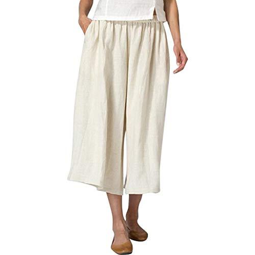 SHUBIHU Damen Yogahose Pilates Baumwoll Leinen Mischung Pocket Hosen Für Fitness Plus Size Weite Hosen Jogginghose Neu 2019 (Beige, L) -
