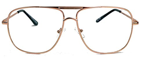 amashades Vintage Nerdies Nerdige Pilotenbrille Streber Brille für Damen o Herren oversized rechteckig 80er Jahre Brillengestell Klarglas SQA (Modell 2 / Gold)