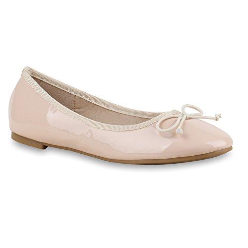 Nude Schuhe Damen Lederoptik Lack Slipper Ballerinas Flats nwYx14