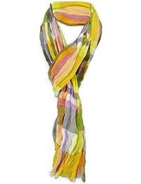 180 x 50 cm gecrashter Schal in orange weissgrau grau gestreift mit Fransen Gr