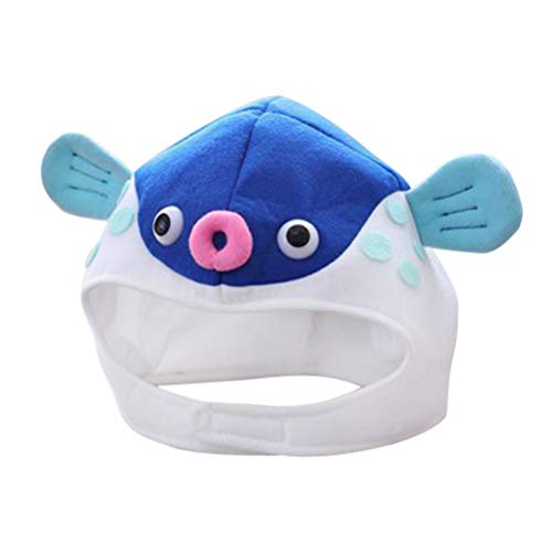 Fisch Kostüm Blaue - Amosfun Nette Puffer Fisch Hut Cartoon weiches Plüsch Spielzeug Foto Requisiten für Kinder Erwachsene (blau)