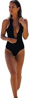 Bañadores Deportivas Mujer,Xinan Traje de Baño de Una Pieza Push Up Bikini Negro