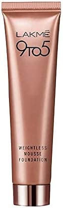 Lakmé 9 To 5 Weightless Mousse Foundation, Rose Ivory, Long Stay, Light Weight Formula, Blends Easily To Conce