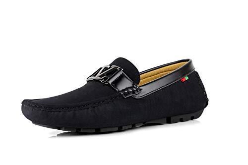 JAS Herren Ohne Bügel Designer Slipper Fahren Freizeitschuhe Italienisches Mode Mokassins - Schwarz, 45 (Italienische Freizeitschuhe)