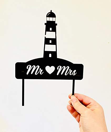 Mr & Mrs Leuchtturm Hochzeitstorte Dekoration - Strand oder nautisches Thema Acryl Hochzeit Kuchen Dekoration - Gold Spiegel - Silber Spiegel - Rose Gold