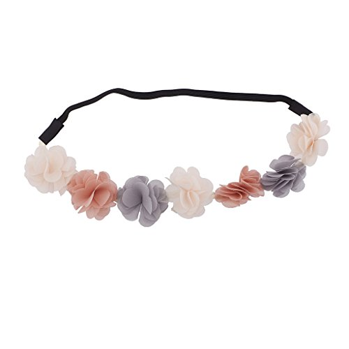 h grau Light Peach Blumen Elastic Headwrap Stirnband ()