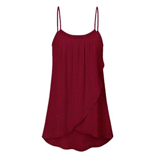 QingJiu Damen Damenmode Plus Größe beiläufige Feste Unterhemd ärmellose Chiffon Flowy Tank Tops Camis Weste Wams (Größe Plus Extra Tank-tops Lange)