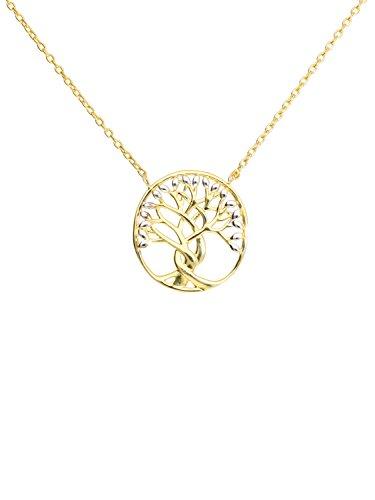 MyGold Damen Halskette Collier Gelbgold Weißgold 333 Gold (8 Karat) Bicolor Lebensbaum Baum Länge 45cm Kette Mit Festem Anhänger Geschenke Für Frauen Geschenkideen Arbol L-07941-G361-AK10-F45cm