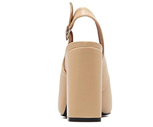 YCMDM Femmes Pointu Boucle Boucle Peau Boucle Talons Hauts Et Printemps Eté Chaussures Nouvelle Mode Simple apricot