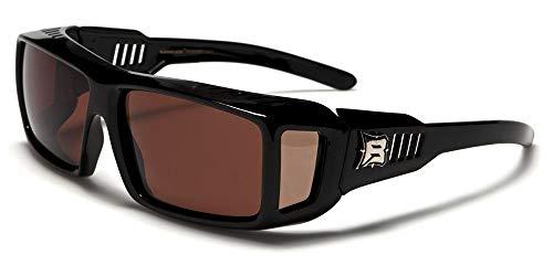 Polarisierende Sonnenbrille, passt über eine Brille, Ref. PZ BAR607, monture noir brillant verres marron(B), largeur:145mm hauteur:43mm