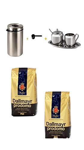 Xavax Edelstahldose für 1kg Kaffeebohnen, Tee, Kakao, mit Aromadeckel silber + Kaffeelöffel schwarz+Xavax Milch- und Zucker-Set aus Edelstahl, 3-teilig + Dallmayr Prodomo Kaffee Bohnen 2x500 gr.