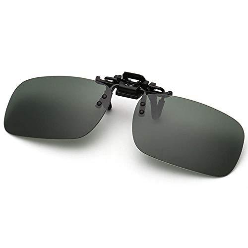 Polarisierte randlose Gläser AOLVO Metall Flip up Clip on Sunglasses Leicht Gewichts Außen Fahren Angeln Sonnenbrillen für Männer und Frauen Unisex Brillenträger (Grün) (Clip-on-brille Nachtsicht)