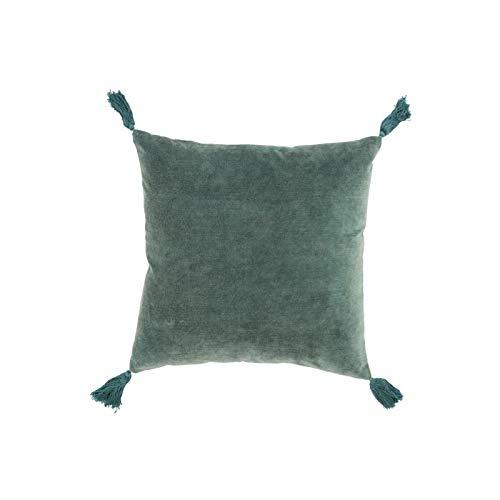 Coussin pompon frange en coton-velours vert turquoise 45 - African Style - Hacienda - Zen - Oasis...