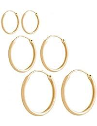 GEMSHINE 925 Silber vergoldete Creolen endless Hoop Ohrringe im klassischen Design in Größen 12 mm - 40 mm. Made in Madrid / Spanien