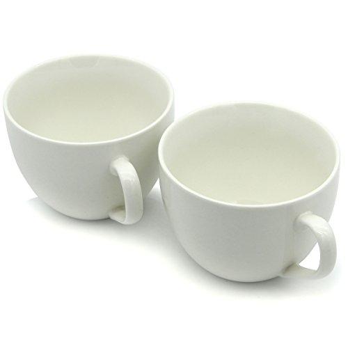 Kaffeetassen 440ml, keramische Schüssel Smilette M030 Neuheit für Frucht und Beeren mit Eiscreme, Hafermehl und Getreide, Satz von 2, weiß -