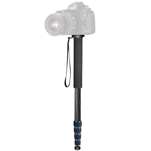 Neewer Kohlefaser Einbeinstativ, 5 Abschnitten 48-163 cm verstellbar tragbar Ständer mit Tragetasche für Canon Nikon Pentax Sony Olympus DSLR bis 10 Kilogramm (schwarz + blau)