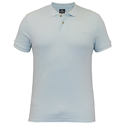 Herren Poloshirt Threadbare Piqué Oberteil Baumwolle Kurz Ärmel Kragen Sommer Neu Blau - MMW065PKB