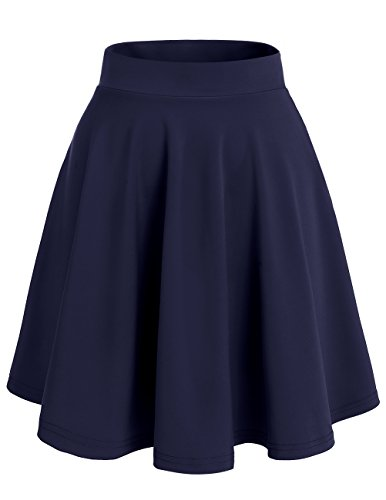 Dresstells Basic Solid Versatile Stretchy Flared Casual Mini Skirt Navy-Midi L