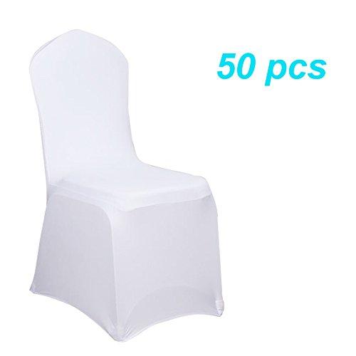 nd Stuhlbezüge Stuhlhussen Stretch Stuhlüberzug moderne Stuhl Abdeckung für Hochzeiten und Feiern (50 Stück Weiß) (Hochzeit Stuhl Abdeckung)