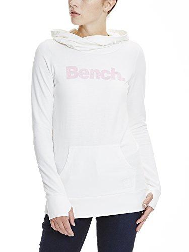 Bench Damen Kapuzenpullover Corp Print Hoody, Weiß (Bright White WH11185), 34 (Herstellergröße: XS)