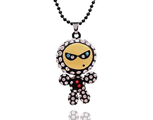 Topsaire Frauen Halskette Farbe Pullover Halskette niedlichen Roboter Cooles Gesicht voller Diamant indischen Silber Anhänger Lange Halskette Party ()
