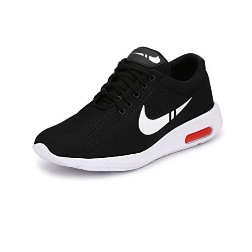 WORLD WEAR FOOTWEAR Men's Black Canvas Light Weight Sneaker Shoes -9 UK
