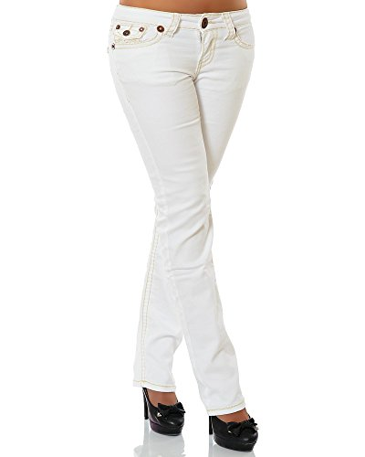 Damen Jeans Straight Leg (Gerades Bein Dicke Nähte Naht 17 Farben) No 12923, Größe:38;Farbe:Weiß