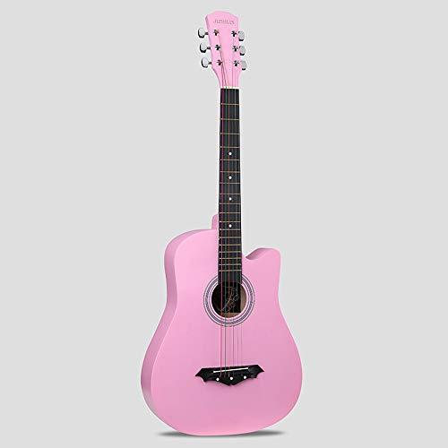 k-Akustikgitarre Hochwertige Buche Anfänger üben Young Boys Girls Gitarre mit Bag Strap String Tuner Capo Poliertuch ( Color : Pink ) ()