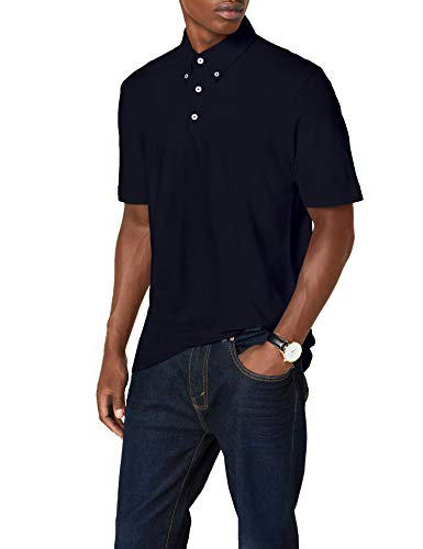 James & Nicholson Herren Poloshirt Poloshirt Men's Plain blau (navy/navy-white) Large - Washed Pique Polo Shirt