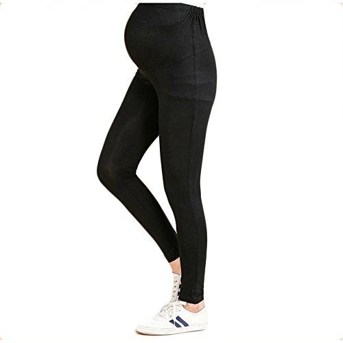 Bold N Elegant Women's Black Comfortable Maternity wear Plus Size Clothing Summer Pregnancy Belly Leggings with Adjustable Elastic Waist