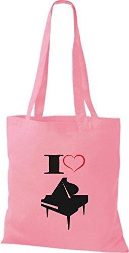 Shirtstown Pochette en tissu Musique I Love ailes Concert Piano rosa