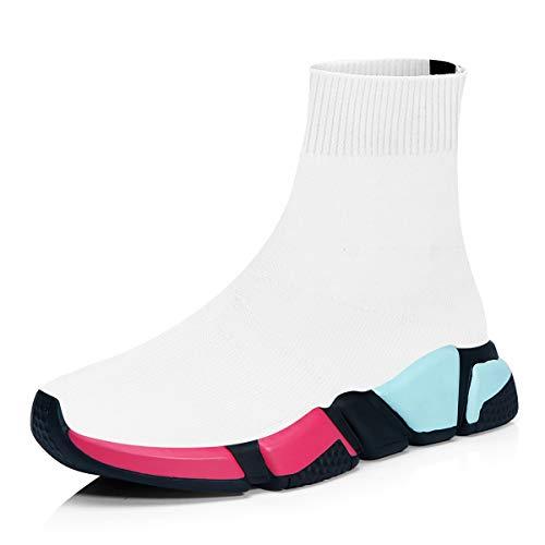 Scarpe da ginnastica uomo donna sportive traspirante calzino running sneakers fitness scarpe da all'aperto bianco/rosso/blu 39