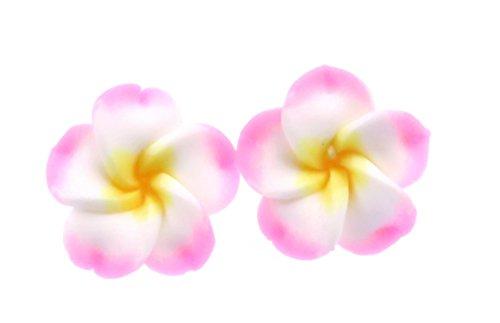 Hawaii Blumen Ohrstecker rosa weiss Ohrringe Hibiskus Modeschmuck bunt (Hawaii-ohrringe)