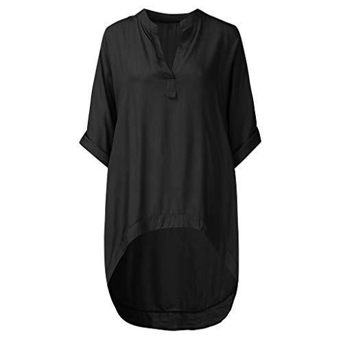 Damen Freizeitoberteil Frauen Baggy Kaftan,Einfarbiges Langarmshirt Lässiges Komfort-Langarm-T-Shirt mit V-Ausschnitt - Floral Front Scoop Neck Tee