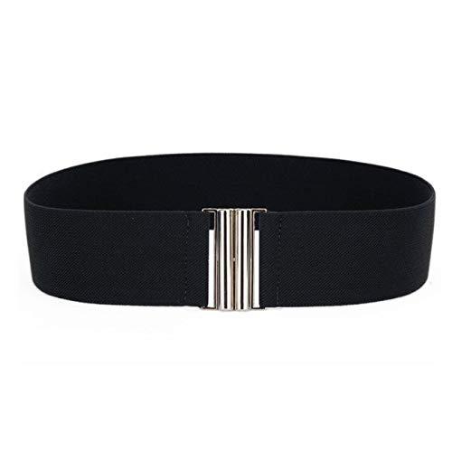 PmseK Gürtel Damen Herren 1PC Fashion Elegant Women Lady Girl Silver Buckle Wide Stretch Elastic Corset Waist Belts Waistband NEW Hot Black
