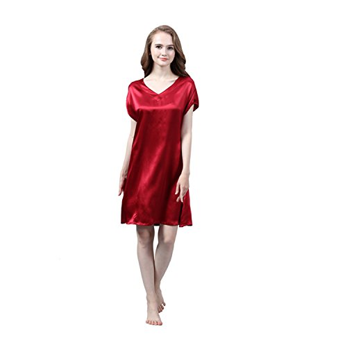 LULUSILK Damen 22 Momme Seide V-Ausschnitt Kurzarm Nachthemd Mini Nachtkleider