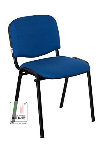 Stil Sedie - Sedia Attesa Ufficio Sala Conferenze poltrona Venere tessuto certificato 1.IM UNI 9175:2008 colore BLU