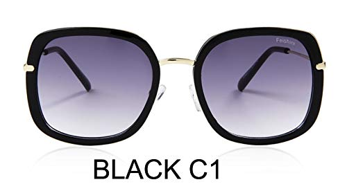 LKVNHP Festival uv400 Gold Gradient Platz Sonnenbrille Damen Spiegel Mode hohe qualität Anti-reflektierendeFrauen Sonnenbrille wtyj195 schwarz c1
