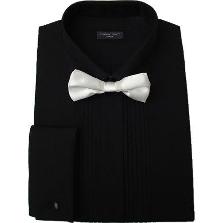 Noir Plissé Robe col pliable pour homme
