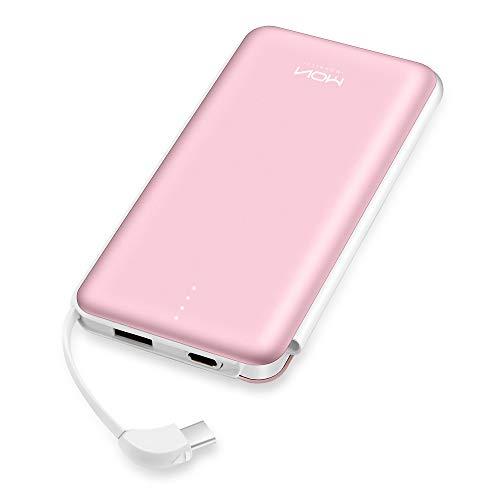 MOXNICE Powerbank 10000mAh Power Bank mit Eingebaute Typ-C-Kabel, 5V / 2.4A Ausgang Externer Akku für iPhone, Samsung, Huawei und Andere...