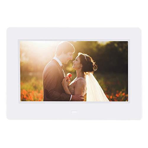 VBESTLIFE Digitaler Bilderrahmen, 7-Zoll-Bilderrahmen mit Wecker-Player/Album/Kalender Unterstützung MPEG, MP4, AVI, RMVB, JPEG, Video, wunderbares Geschenk für Familien(Weiß)