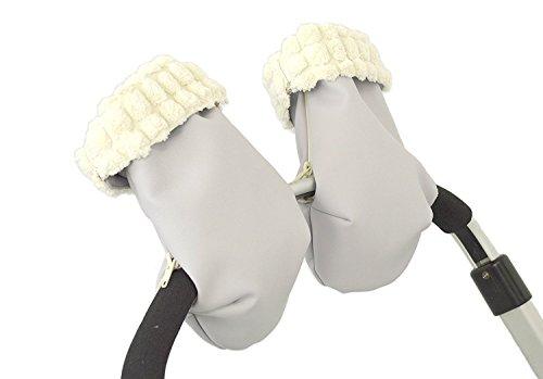 BORDAYMAS/Manoplas guantes para carrito silla de bebé pelo extra-suave beige eco-piel gris