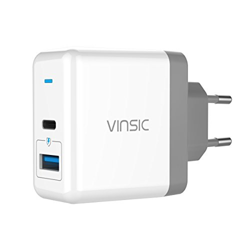 USB Typ C Ladegerät VINSIC 5V 5.4A 2 Port ( USB + Type C ) USB Stecker Wandladegerät Reiseladegerät für iPhone / iPad / Samsung / HTC / Google / Sony, etc. Test