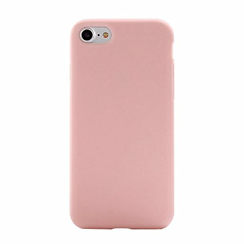 Hosaire Coque Soft TPU Silicone Ultra-thin Solid Couleur Phone Case Housse pour iPhone 7 Cover de Protection de Téléphone Case pour iPhone 7 -Noir Rose