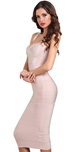 Kimring Women's Spaghetti Strap Bodycon Bandage Midi Fashion Club Party Dress Apricot-rosa