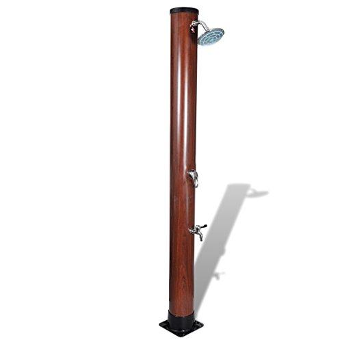 Festnight - Doccia Solare con Soffione Superiore Fisso e Finitura in legno Marrone da Giardino/Piscina con Finitura in legno 1,96 m